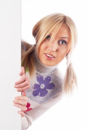 Woman beside whiteboard photo