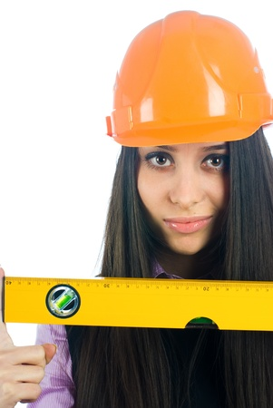 Girl with level Stock Photo - 8671255