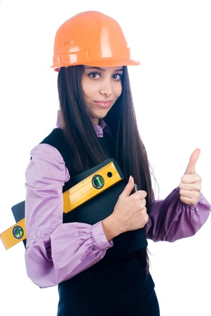 Girl with level Stock Photo - 8711005