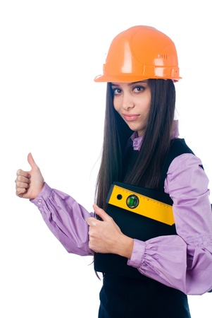 Girl with level Stock Photo - 8800207