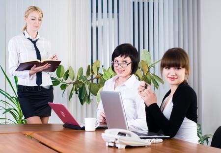 Businesswoman with presentation photo