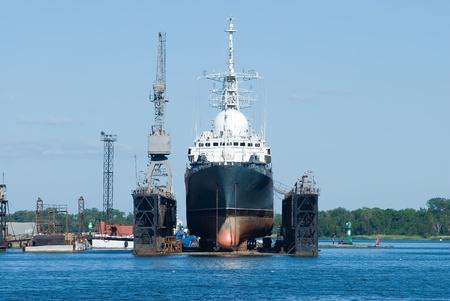 A ship in Baltiysk dry dock photo