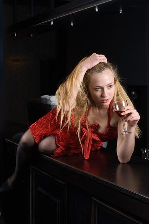 young women with wine glass photo