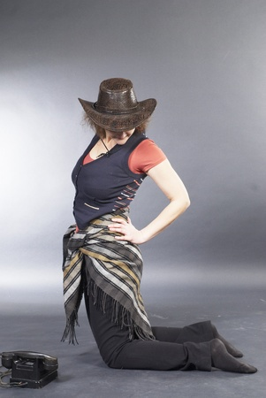 Beautiful lady in a cowboy hat photo