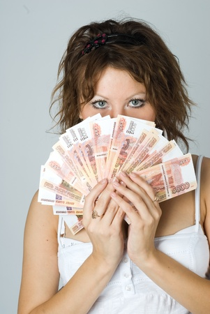 Young Lady with money photo