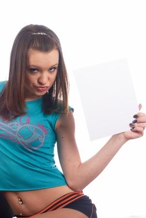 Girl wth blank sheet Stock Photo - 9068006