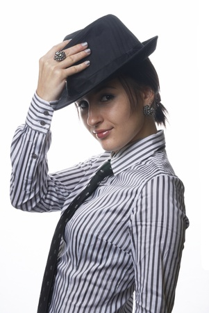 black tie: Mujer con sombrero y corbata
