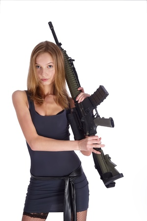 Woman with gun on white