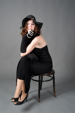 Young woman in black photo