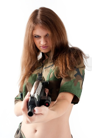 Pretty woman with a gun photo