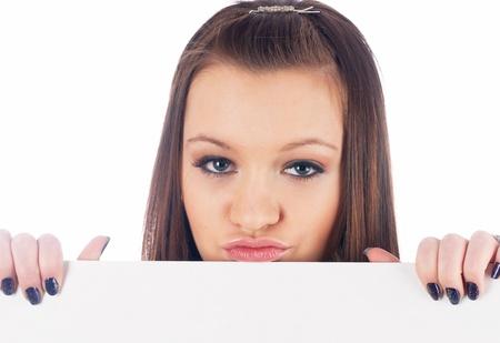 Girl beside whiteboard photo