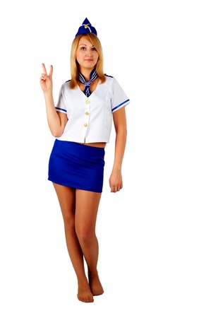 Young beautiful air hostess  photo