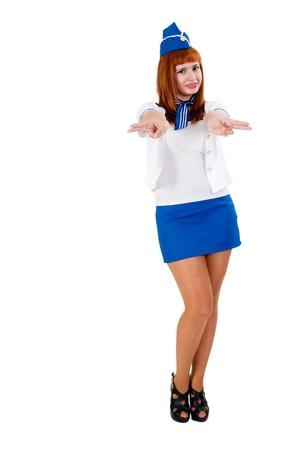 Young beautiful air hostess photo