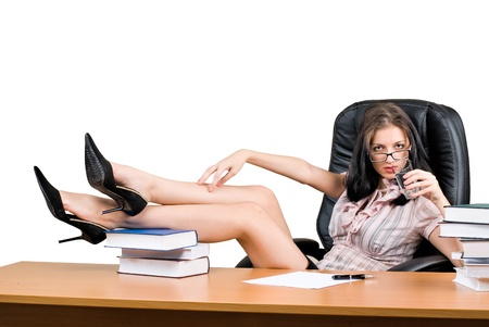 sexy secretary: Young woman boss Stock Photo