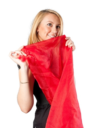 Pretty girl in black with red shawl  Isolated on white photo