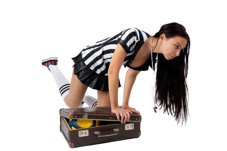 Beautiful Soccer Referee with old suitcase  Isolated on white photo