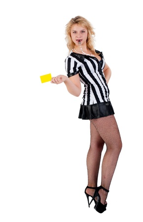Beautiful Soccer Referee shows yellow card  Isolated on white photo