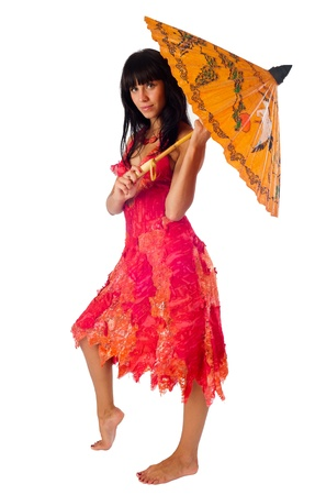 Young beautiful woman with asian umbrella  Isolated on white photo