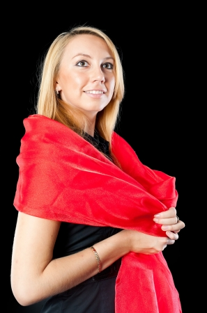 Pretty girl in black with red shawl photo