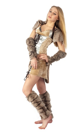 Young beautiful woman in barbarian costume  Isolated on white Stock Photo