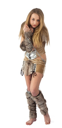 erotic fantasy: Young beautiful woman in barbarian costume  Isolated on white Stock Photo