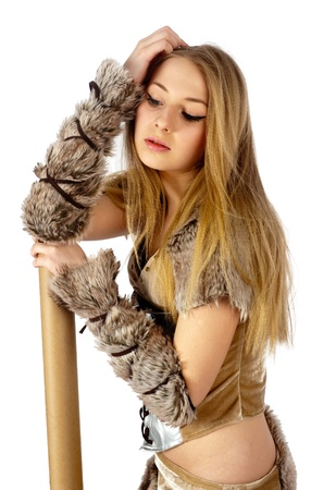 Young beautiful woman in barbarian costume  Isolated on white Stock Photo - 14826253