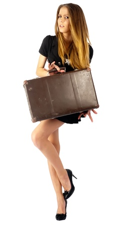 Young beautiful police woman with suitcase  Isolated on white Stock Photo - 15042009
