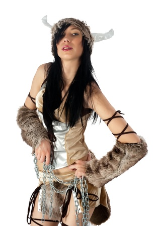 Young beautiful woman in barbarian costume  Isolated on white Stock Photo - 15042014