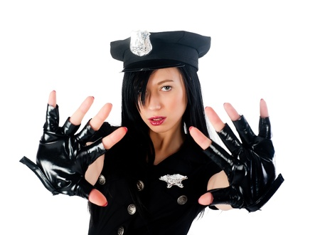 Young beautiful police woman with stop gesture  Isolated on white Stock Photo - 16582627
