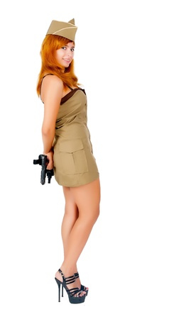 Young beautiful woman in military clothes  Isolated on white photo