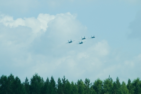 Aerobatic Team  The Russian Knight  on air show, Russia photo