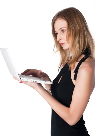 Portrait of a young attractive woman with netbook Stock Photo - 17053837