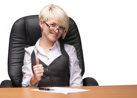 Beautiful young businesswoman the thumb-up against white background photo
