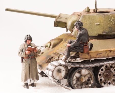 diorama: Legendary Soviet tank T-34 at war in the second world war  Diorama of winter view with soviet officers