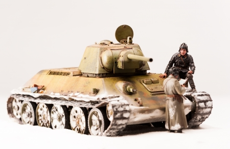 'second world war': Halt of tank crew at war in the second world war  Diorama of winter view with soviet officers Stock Photo