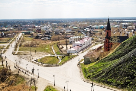 Old part of Tobolsk town with churches photo
