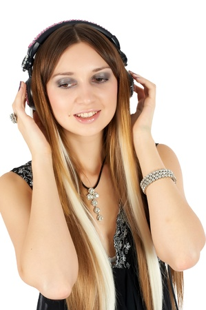 Portrait of an attractive steam punk girl with headphones photo