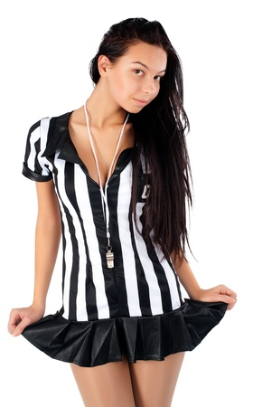Beautiful Soccer Sexy Referee  Isolated on white photo