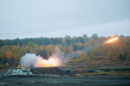 multiple rocket laucher system from fighting and resupply vehicles attacks target  Uralvagonzavod production  Russia photo