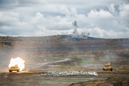 Platoon from T-90S and Tank assistance combat vehicle BMPT attack of enemy