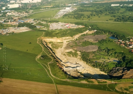 open pit: Industrial area and open pit mine in Moscow region