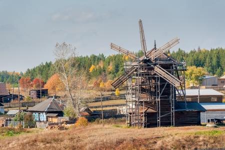 threshing: Windmill  The museum of wooden architecture in the village Nizhnaya Sinyachikha of Sverdlovsk region  Russia Stock Photo