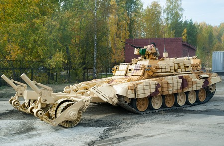 clearer: Nizhniy Tagil, Russia - September 25  2013  BMR-3M  Armoured deminer to demine pathways for column march  Uralvagonzavod production  RAE-2013 exhibition