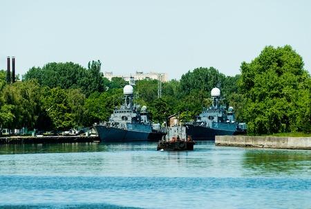 Battle ship docked on pier in Baltiysk  Russia  2009 June 29