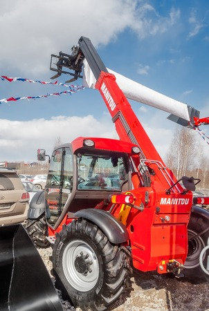 specialized: Tyumen, Russia - April 04  2014  IV Tyumen specialized exhibition  Agricultural Machinery and Equipment   Display exhibits Editorial