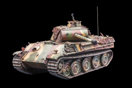 Еiger historic german World War 2 tank replica over black background photo