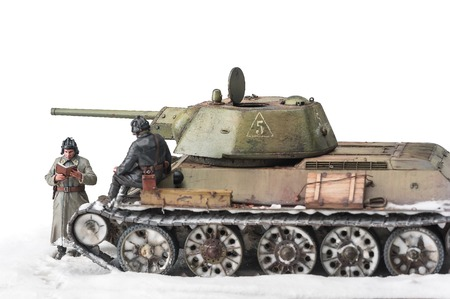diorama: Legendary Soviet tank T-34 at war in the second world war  Winter view diorama with two officers Stock Photo