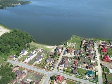 bird s eye view: Bird s eye view from helicopter onto rural street in Borovskiy village  Tyumen region  Russia