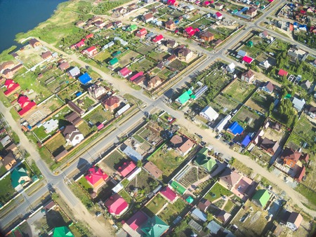bird s eye: Bird s eye view onto Suburban streets in Borovskiy village  Tyumen region  Russia