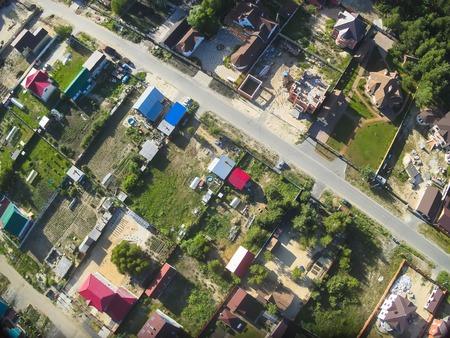 bird s eye view: Bird s eye view onto suburban streets from quadcopter  Borovskiy  Tyumen region  Russia